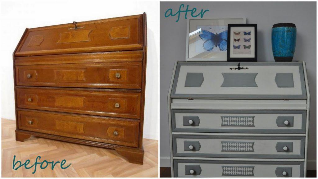 sekretarzyk przed i po renowacji