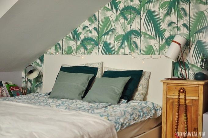 sypialnia tapeta w palmy