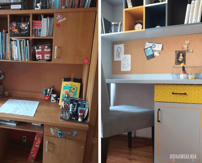 metamorfoza meblościanki biurko przed i po