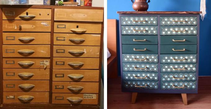 odnawianie mebli komoda z szufladami