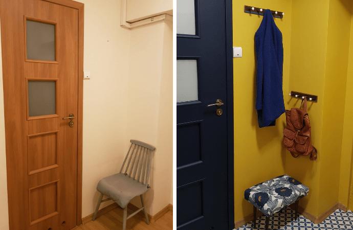 malowanie drzwi metamorfoza przedpokoju